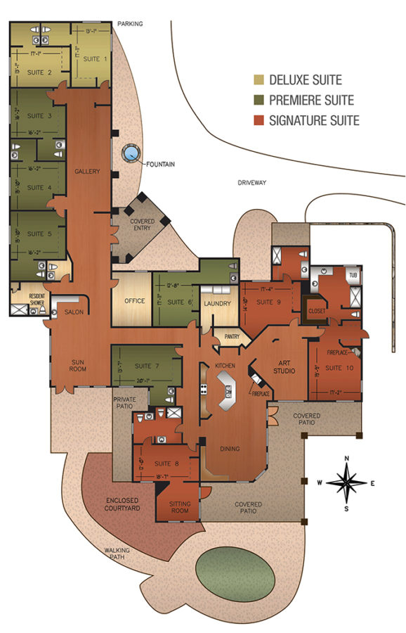 Floor plan of the The Galleria Assisted Living Home Tucson